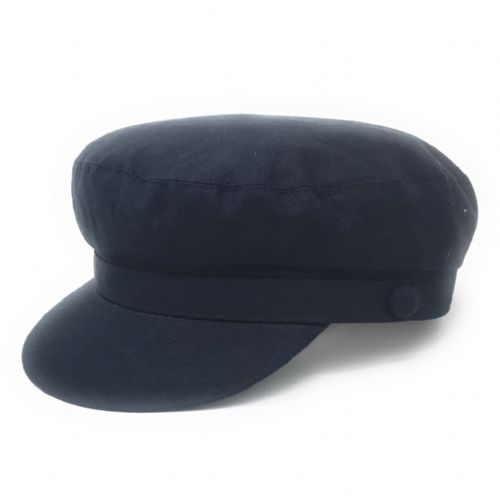Linen Barge Fisherman Cap - fully lined - Navy